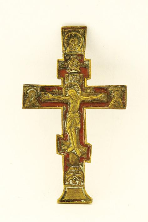 Крест «Распятие». Начало XIX века. Поморье. Медно-литая пластика, цветная эмаль